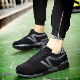 PU Color-Block Round-Toe Lace-Up Sports Shoes