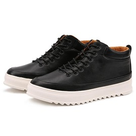 PU Plain Round-Toe Lace-Up Casual