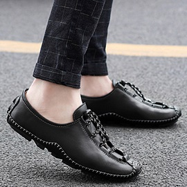 PU Lace-Up Square Toe Thread Casual Shoes