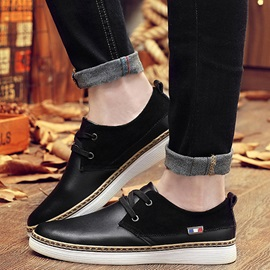 PU Lace-Up Round Toe Plain Low-Cut Upper Sneakers