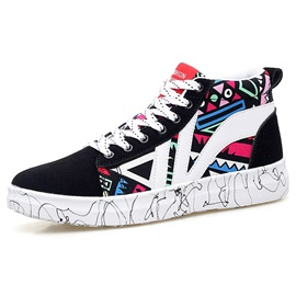 PU Geometric Round Toe Lace-Up Sneakers