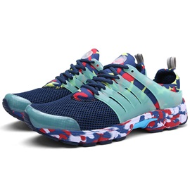 Mesh Camouflag Color Block Lace-Up Sneakers