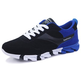 Nubuck Leather Color Block Lace-Up Men's Sneakers