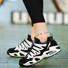 PU Color Block Round Toe Sneakers