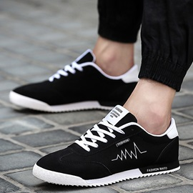 Nubuck Leather Plain Round-Toe Lace-Up Sneakers