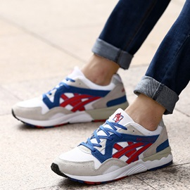 Nubuck Leather Color Block Lace-Up Men's Fashion Sneakers