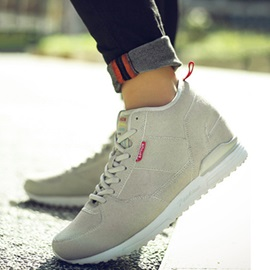 Nubuck Leather Plain Lace-Up Men's Winter Sneakers