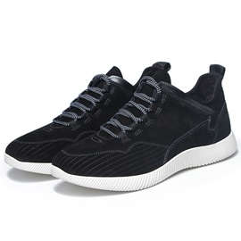 Simple Nubuck Leather Plain Lace-Up Men's Sneakers