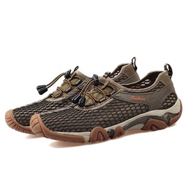 Mesh Elastic Plain Lace-Up Men's Hiking Shoes