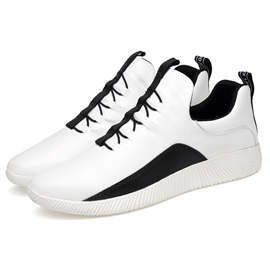 PU Color Block Lace-Up Athletic Sneakers