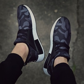 Mesh Camouflage  Lace-Up Sneakers
