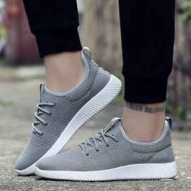 Mesh Lace-Up Plain Athletic Sneakers for Men