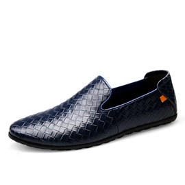 Embossed Leather Slip-On Men's Casual Shoes