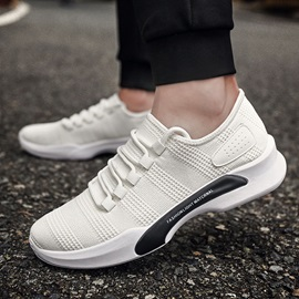 Spandex Lace-Up Color Block Breathable Men's Sneakers