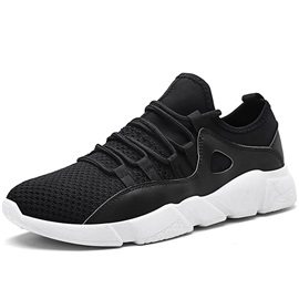 Mesh Lace-Up Round Toe Patchwork Men's Running Sneakers