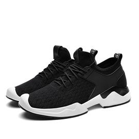 Mesh Lace-Up Color Block Round Toe Men's Sneakers