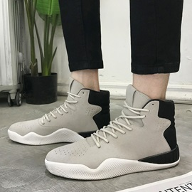 PU High-Cut Upper Lace-Up Chic Men's Sneakers