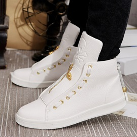 PU Zipper High-Cut Upper Men's Skater Shoes