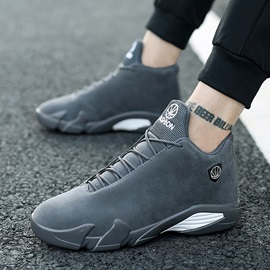 PU Mid-Cut Upper Lace-Up Men's Sneakers