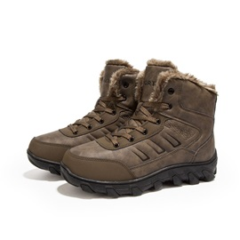 PU Round Toe Lace-Up Men's Snow Boots