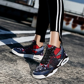 Floral High-Cut Upper Lace-Up Men's Sneakers