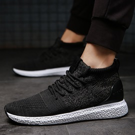 Mid-Cut Upper Lace-Up Mesh Breathable Men's Sneakers