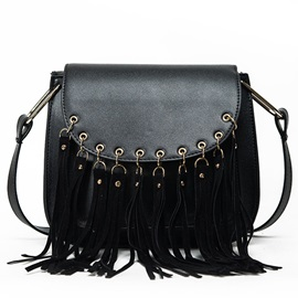 Tassel Snap Cover Saddle Shape Shoulder Bag