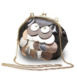 Novelty Owl Design Chain Crossbody Bag