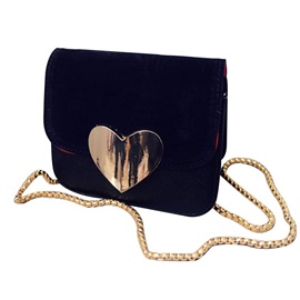 Heart-Shaped Decoration Chain Crossbody Bag