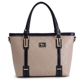 Belt-Decorated Color Block Women Satchel