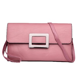 Concise Soft PU Plain Crossbody Bag