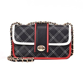 Plaid PU Lock Rectangle Crossbody Bag