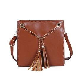 Tassels Plain Thread Square Crossbody Bag