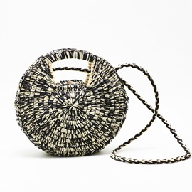 OL Knitted Grass Circular Crossbody Bags