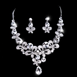 Shiny Three Leaves Floral Shaped Rhinestone with Alloy Wedding Accessories Wedding Jewelry Set(Include Necklace and Earring )