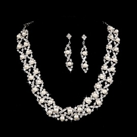 Fashion Round Pearl Rhinestone Alloy Wedding Jewelry Set (Including Necklace and Earrings)