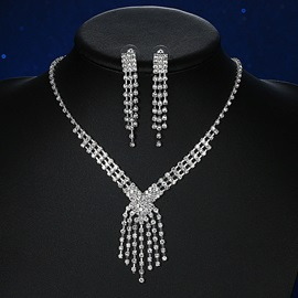 Shining White Rhinestone Wedding Jewelry Set
