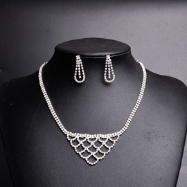 Net Shaped Full Drill Hollow Bright Simple Sweet Wedding Jewelry Sets