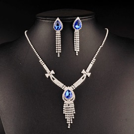 Water Drop Sapphire Shaped Stone Diamante Tassel Bowknot Chain Korean Wedding Jewelry Sets