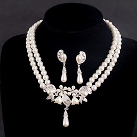 Pear Pearls Pendant Rhinestone Leaf Shaped Alloy Double Pearls Chain Classical Wedding Jewelry Sets