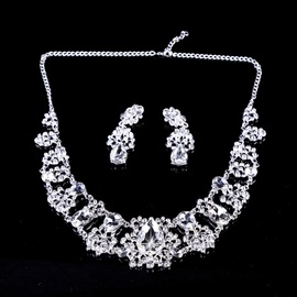 Geometric Pattern Rhinestone Wedding Jewelry Sets(Including Earrings and Necklace)