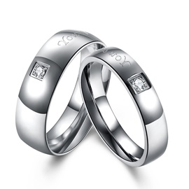 Silver Plated Imitation Diamond Inlaid Wedding Ring