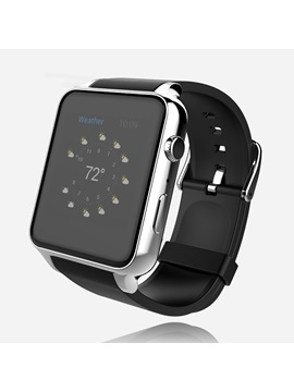 Aluminium Alloy Square Rubber Band All Compatible 0.3 MP Camera Pixels Bluetooth Smart Watch