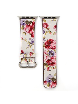 Apple Watch Band,Floral Genuine Leather iWatch 1/2/3 Smart Watch Strap for Wowen