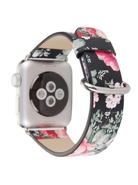 National Floral Printed Leather Apple Watch Band 38mm 42mm ,Flower Design Replacement Strap for Women Girls