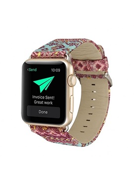 Floral Pattern Apple Watch Band 38mm 42mm ,Nylon Leather iWatch Strap Classic Buckle for Ladies Men