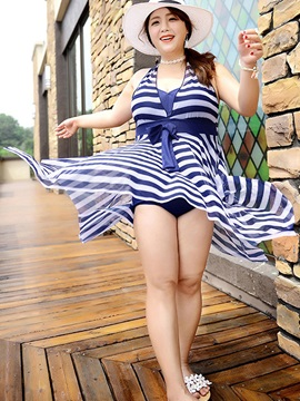 Plus Size Stripe Bowknot Swimwear