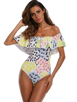 Falbala Flower Print Off-The-Shoulder Monokini
