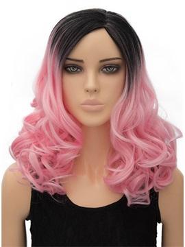 Pink Long Wavy Capless Synthetic Hair Wig 18 Inches