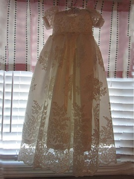 Short Sleeves Sashes Lace Appliqued Baby Girl's Christening Dresses